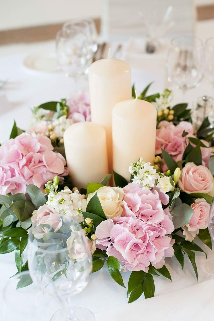 Hydrangea Rose Pink White Ivory Low Candle