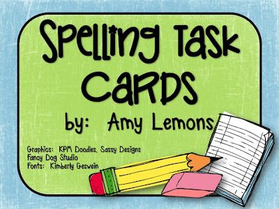 Spelling Task Cards (free); this is for 2nd grade, but can adapt
