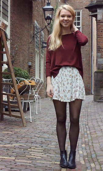 H&M Jumper, Brandy Melville Flower Dress, Sacha Chelsea Boots