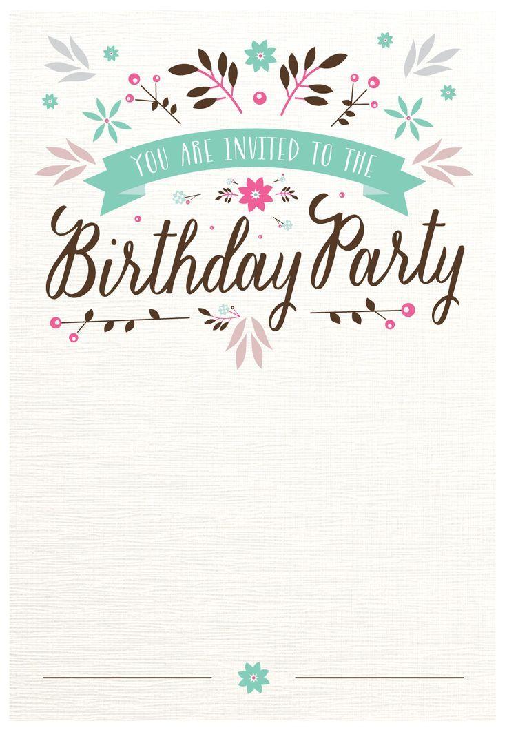 Flat Floral Free Printable Birthday Invitation Template Gr Birthday Invitation Card Template Floral Birthday Invitations Free Birthday Invitation Templates