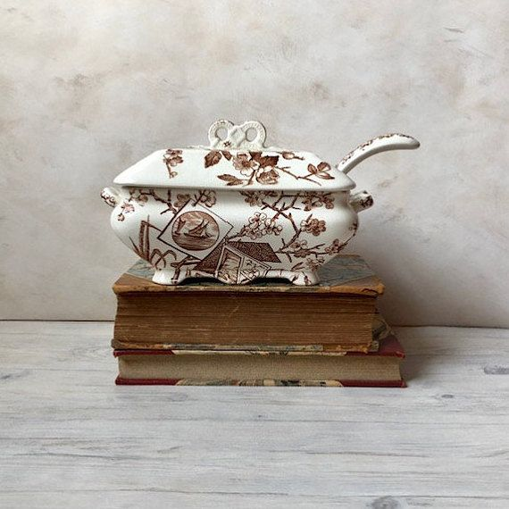 Antique Aesthetic Brown Transferware Small Tureen And Ladle Etsy Brown Transferware Transferware Antiques