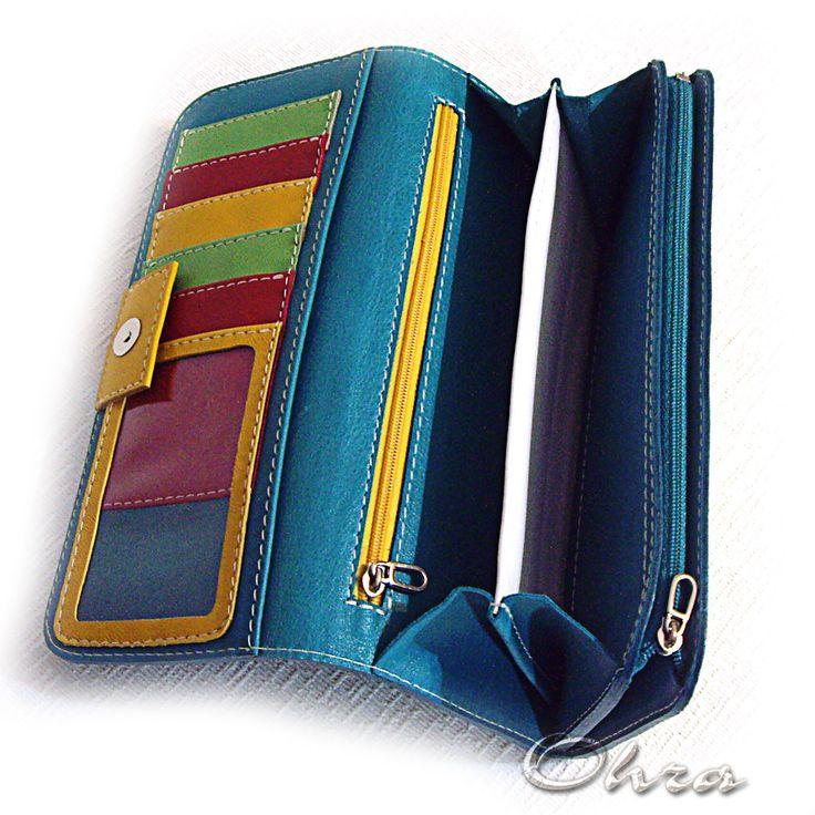 """Купить Кошелек кожаный """"Радостный"""" - бирюзовый, кошелек, кошелек из кожи, кожаный кошелек, разноцветный, яркий"""