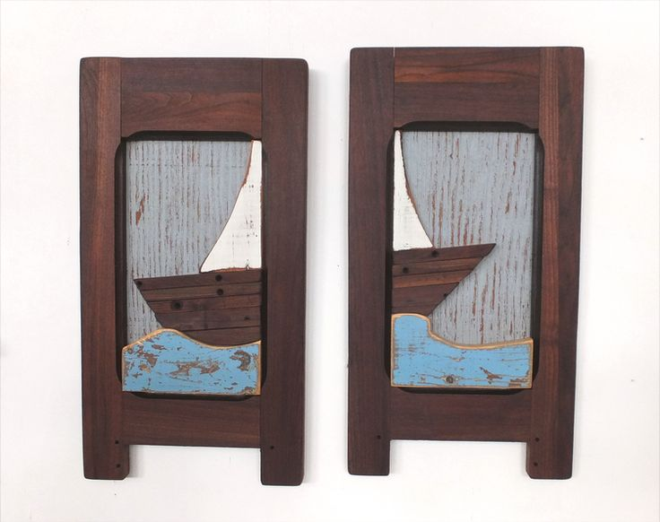 """""""At Sea""""  Reclaimed Wood Wall Hanging www.birdmouse.ca"""