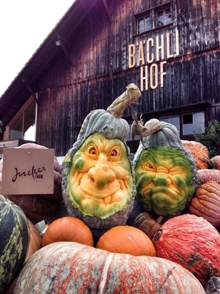 """Artist: Villafane Studios ~ """"Meet the Hubbards. Hans and Heinrich Hubbard. I really love working with these Hubbard squash. A refreshing break from the standard pumpkin."""""""