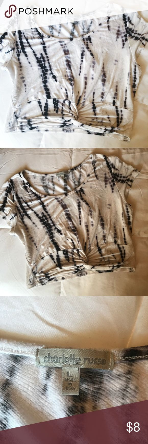 🍷Tie Dye Crop Top White and black tie Dye crop top with knot detail along bottom. Good condition. Super soft and comfy. Smoke free home. Charlotte Russe Tops Crop Tops