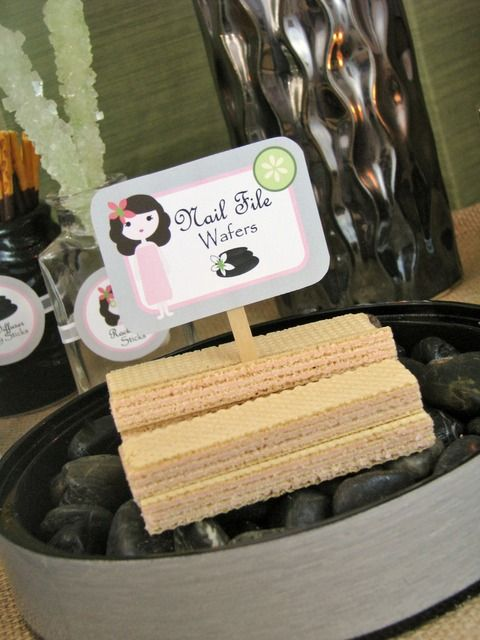 Food for a spa party; Nail File Waffers