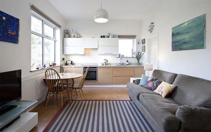 Open plan kitchen living room design.