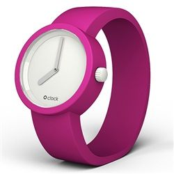 'O clock' watch - White face with Violet (Fuchsia) strap