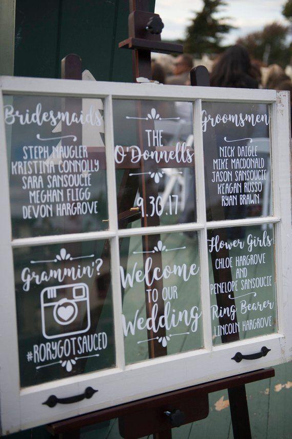 Wedding Mirror Antique Window Decal Welcome Sign