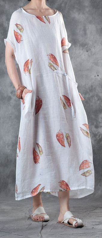 676ca7dabe Elegant white linen knee dress trendy plus size linen clothing dresses top  quality o neck prints dresses