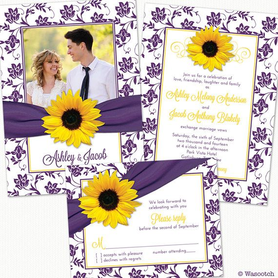 Sunflower Purple Yellow Damask Floral Ribbon Photo by wasootch