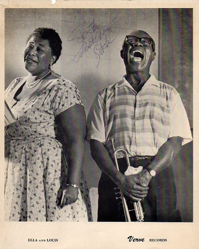 Louis Armstrong Signed Photo with Ella Fitzgerald $100 ...