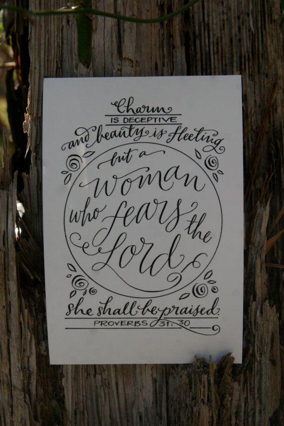 Hand-Lettered Scripture Print - Proverbs 31:30 - Bella Scriptura Collection from Paperglaze Calligraphy