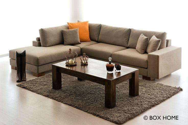 Γωνιακός Καναπές BOLD, τραπεζάκι σαλονιού από μασίφ ξύλο & ομπρελοθήκη Boots  cozy & natural living room