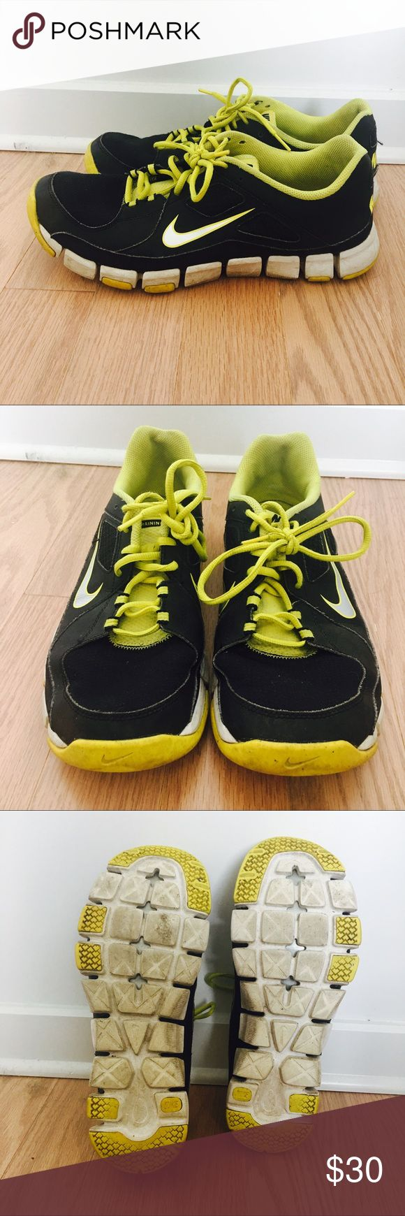 Nike Yellow and Gray training shoes Nike Yellow and Gray Training Shoes in used condition, still very comfortable and look nice! Just some scuffing/discolored patches on the soles of the shoes and along the outer white base of the shoe as a result of being loved Nike Shoes Athletic Shoes