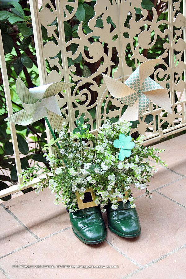 St Patrick's Day - leprachaun shoes left at the front door!
