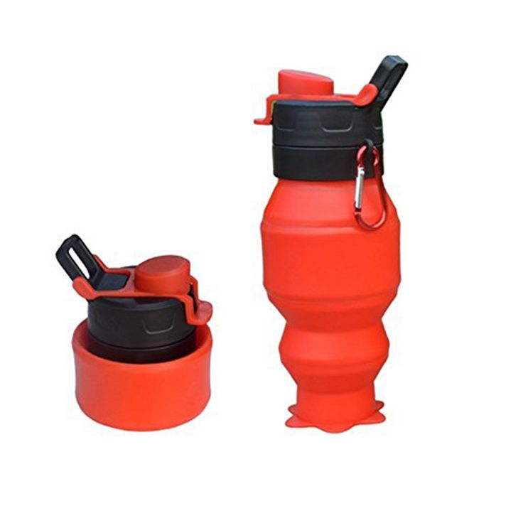 Portable Travel Bottle Outdoor  BPA Free Silicone Foldable Bottle Collapsible Water Bottle With  Lid for Camping Hiking Picnic
