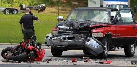 Both the female motorcyclist and the driver of the pickup truck were taken to the hospital, just before 1 p.m. I have always said Lunch time is the worse time to ride a bike. The closer to 1PM the faster people drive trying to get back to work. Pray for both...