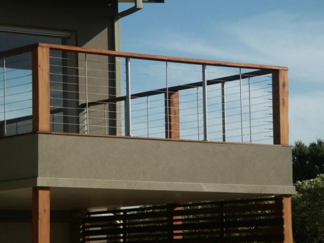 Timber and stainless steel wire balustrade