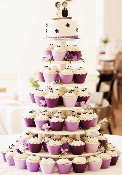 """Wedding Cake Made from Cupcakes (can be the actual wedding cake, or something for kids).....  …one of my """"Matrimonial Munchies"""" (Wedding Food and Favors Ideas) in my latest """"Wanderlust Food Diaries"""" article.....  """"Love Times Love"""" (A Bright Brooklyn Wedding Affair)"""