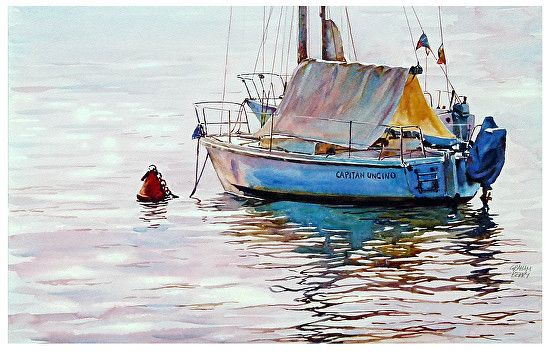 "Capitan Uncino by Graham Berry Watercolor ~ 11"" x 18"""