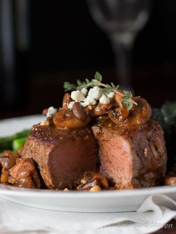 Pan Seared Filet Mignon with Mushroom Red Wine Sauce and Blue Cheese