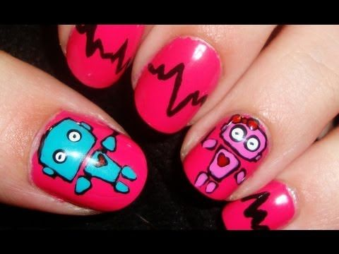 Friday I'm In Love: Robot Love Nail Art