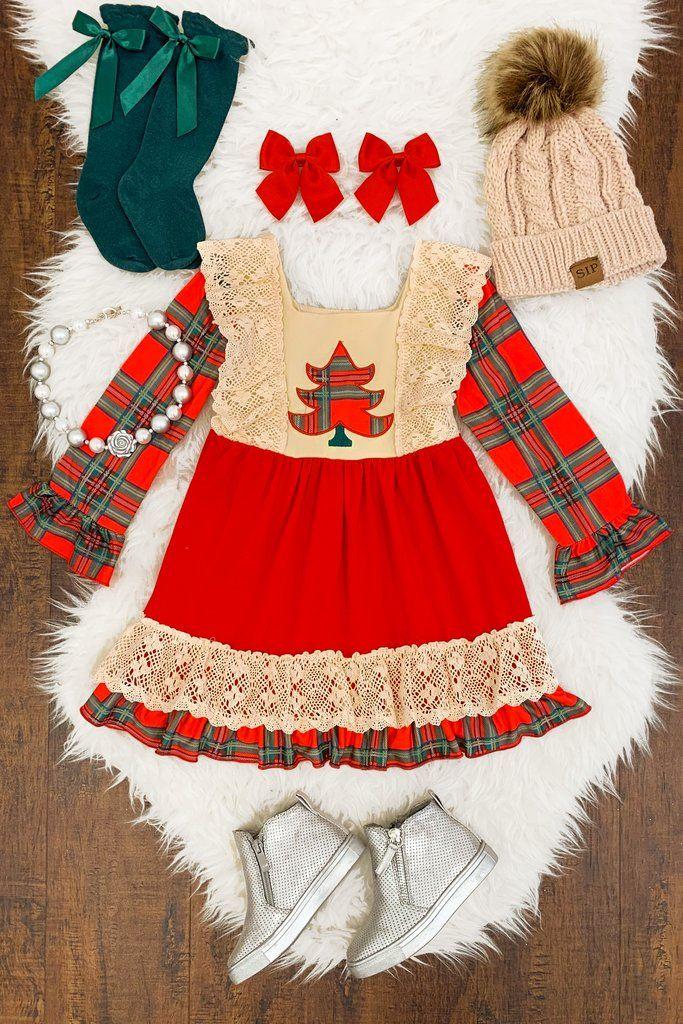 0c6c8a20bf20 Red   Cream Tree Dress