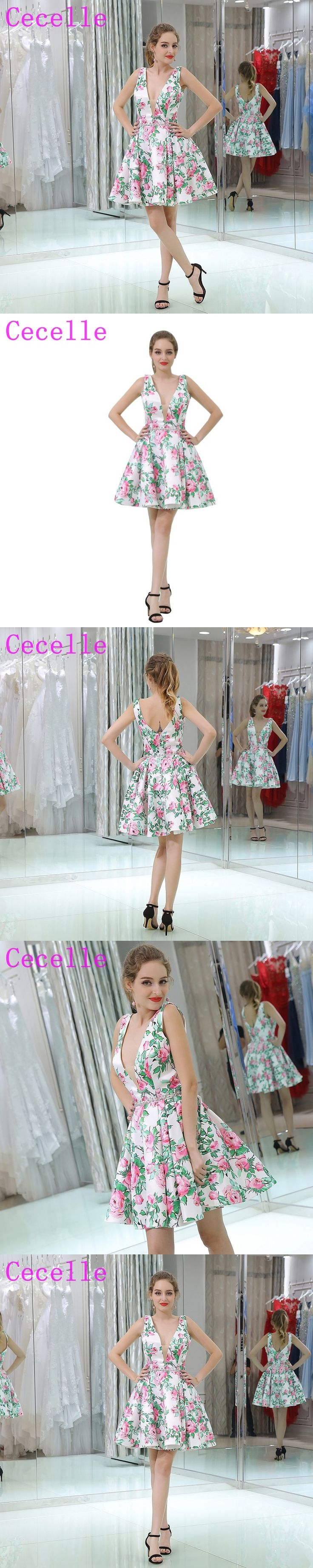 White and Green Floral Print Short Cocktail Dress Sleeveless A-line Knee Length V Neck Semi Formal Juniors Cocktail Party Dress