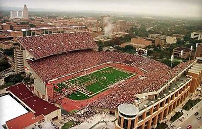 """University of Texas Longhorn football games in Austin are always fun - about 95,000 people here, enjoying the game."""