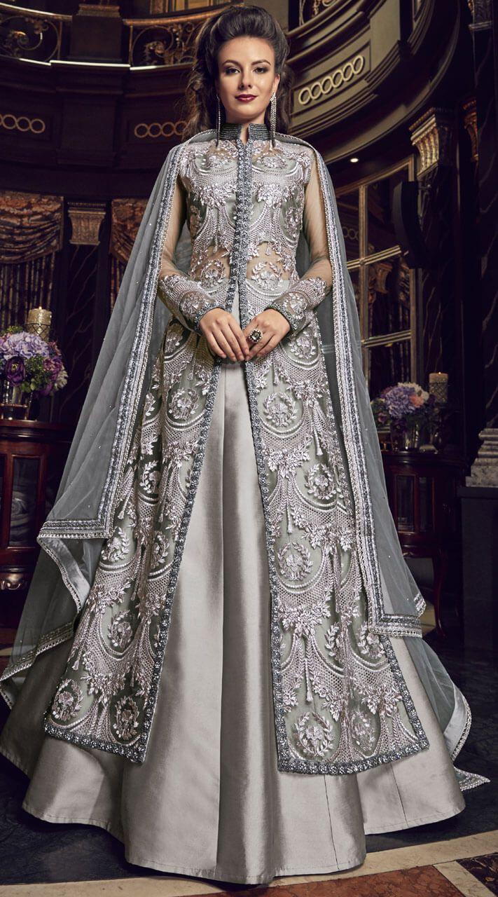 2657aa1b8c Silver #Grey #Jacket #Style #Lehenga #Suit is Net #Top Silk Bottom with #Net  #dupatta. Having Resham and Stone Work Embroidery. This Jacket #Style # Lehenga ...