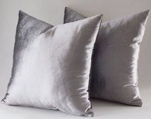 Set Of 2 / Velvet Solid Silver Pillow Covers, Silver Decorative Velvet Pillows, Throw Pillows, 12,14,16,18,20,22,24,26,28,30 inches