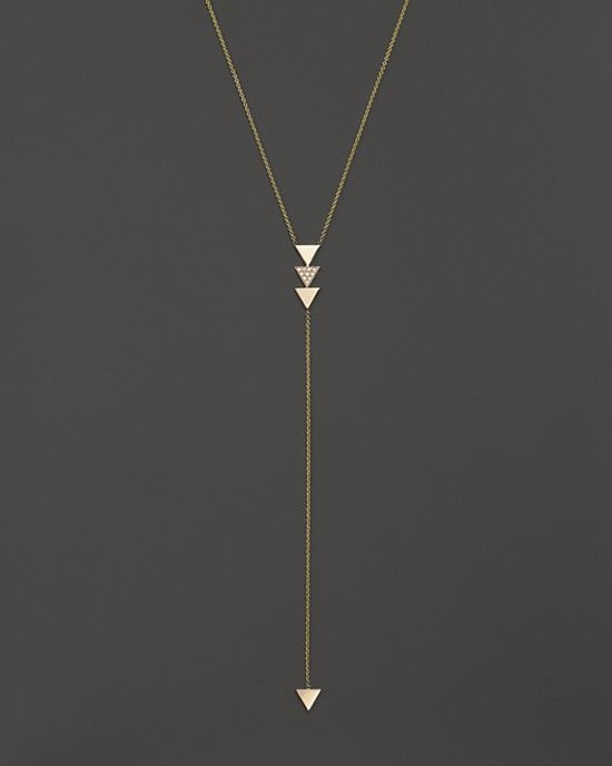"@zoechicco  14K Gold 4-Triangle Lariat Necklace with Diamonds, 18"" - 100% Bloomingdale's Exclusive"