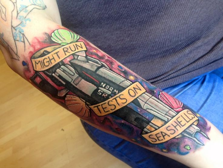 Part of a Mass Effect sleeve by Bronte at Taattoo Wombwell