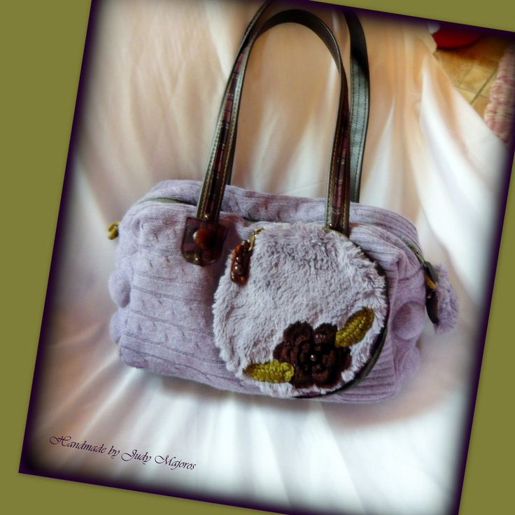 Handmade by Judy Majoros- Bubble Lavender knit handbag. Leather strap. Faux fur handbag. Knit shoulder Bag.Recycled bag