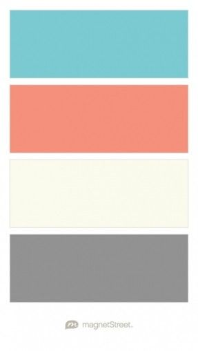 Turquoise, Coral, Ivory, and Classic Gray Wedding Color Palette - custom color palette created at