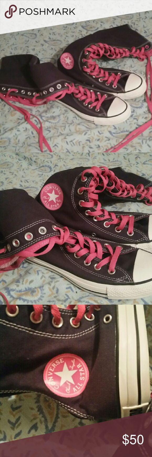 NWOT! Navy Converse Extra Tall Chucks NWOT! NEVER WORN. MINT CONDITION. Navy Blue and Pink. So cute and Uber trendy!! So sexy and comfy with a pair if daisy dukes! Scoop these up at this price! They'll last you a long time too. :) Converse Shoes Athletic Shoes