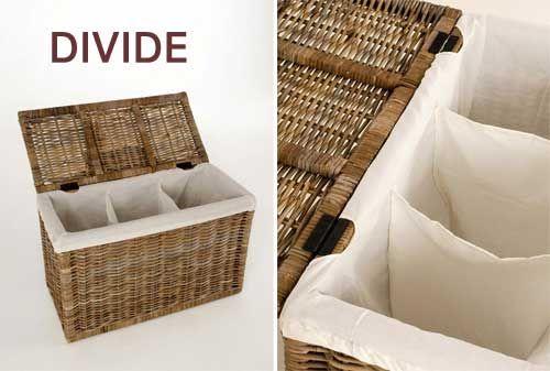 Wäschekorb DIVIDE mit drei Fächern