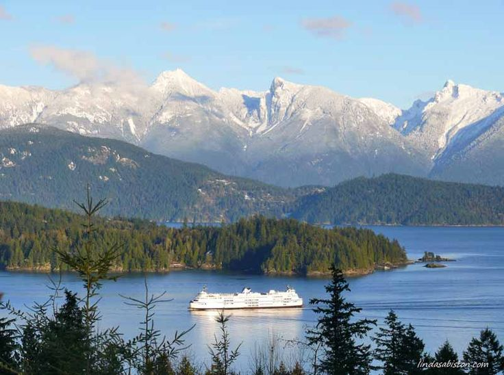 BC Ferry & view of Howe Sound from Gibsons, BC - Sunshine Coast