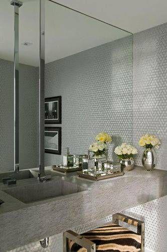 Cuba com revestimento cinza para banheiro