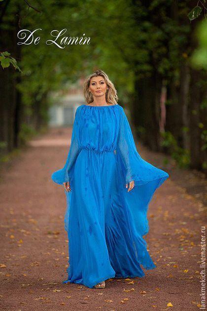 """Платья ручной работы. Ярмарка Мастеров - ручная работа. Купить Платье длинное шифоновое """"Круизное"""". Handmade. Синий"""
