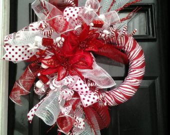 FESTIVE CANDY CANE Peppermint-Themed Ribbon & Deco Mesh Holiday Wreath