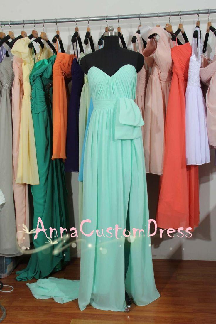 Sweetheart Long Mint Chiffon Bridesmaid Dress with Front Slit