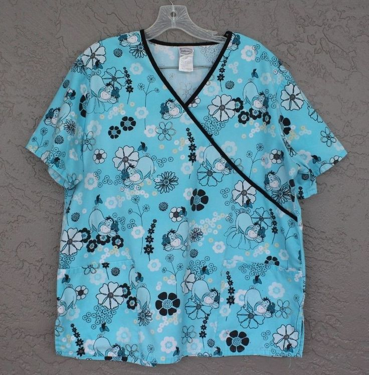 Womens Disney Eeyore Nurse Vet Dental Uniform Pocket Scrub Top Size Large   #Disney
