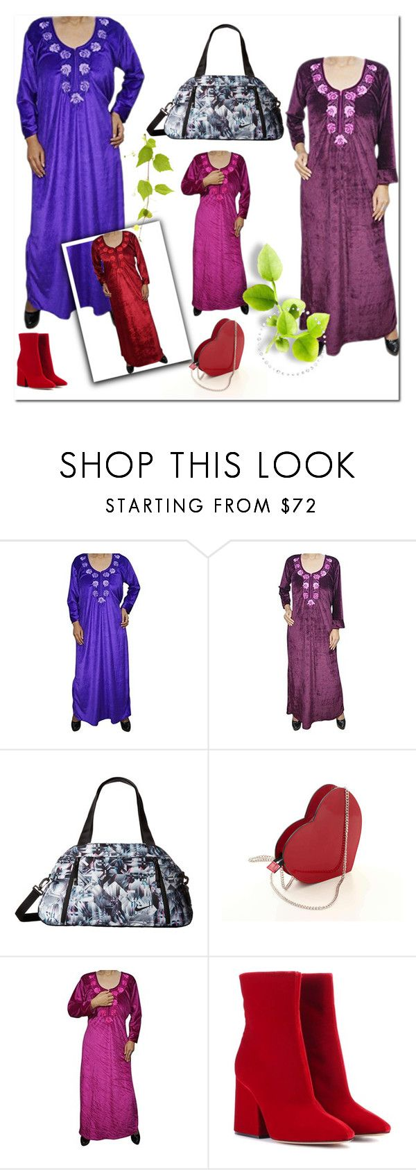 """Velvet Nightwear"" by lavanyas-trendzs ❤ liked on Polyvore featuring NIKE, Maison Margiela, nighty, nightgown and nightdress"