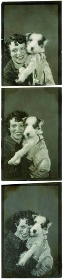 vintage photo-strip with dog.