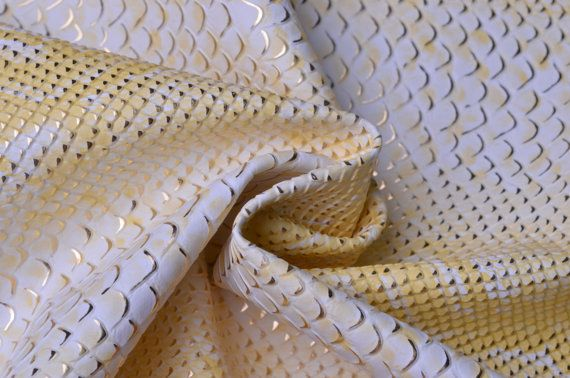 Fat Quarter Yellow White Snake Skin Faux Leather Fabric,Heavy Leather Fabric,Strong Leather fabric,Textured Snake Skin…