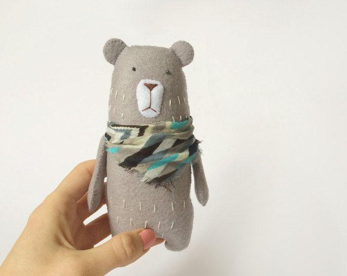Felt Grey Bear With A Scarf, Felted Miniature Animals, Felt Animals, Teddy Bear, Stuffed Miniature Bear