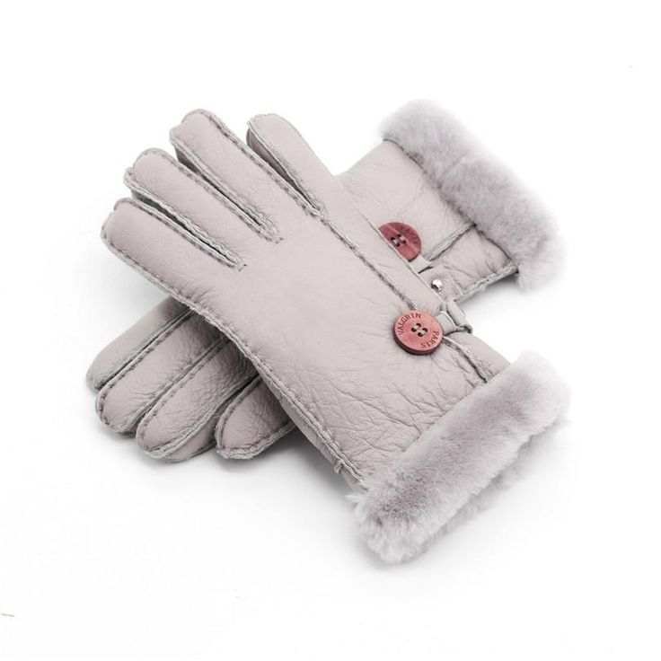 Genuine Leather Gloves female Winter warm sheepskin gloves Russian Glove sheep Real fur wool Mittens solid Five finger glove set