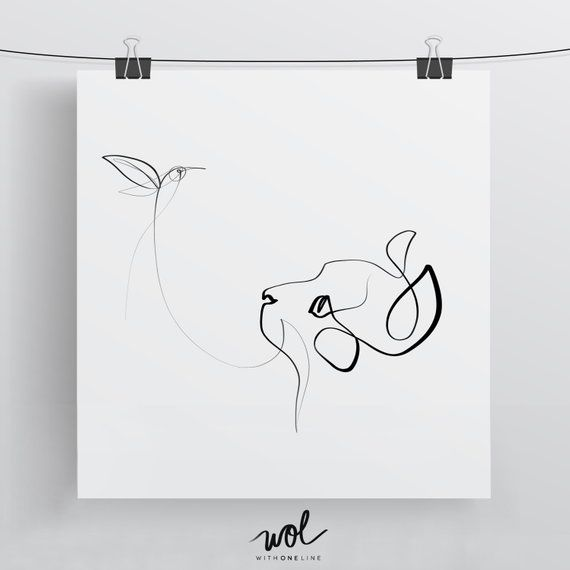 Black and White Cat Art | One Line Drawing | Cat Art | Cat Gift | Cat Portrait | Hummingbird Print | Calligraphy Print | Single Line Drawing